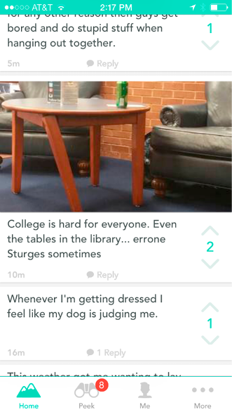 Figure 1. Screenshot of Yik Yak Stream