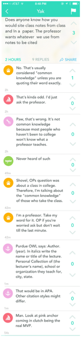 Figure 3. Screenshot of Yik Yak Conversation