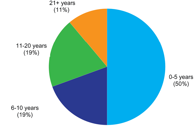 Figure 2. Librarians' Years of Library Experience pie chart