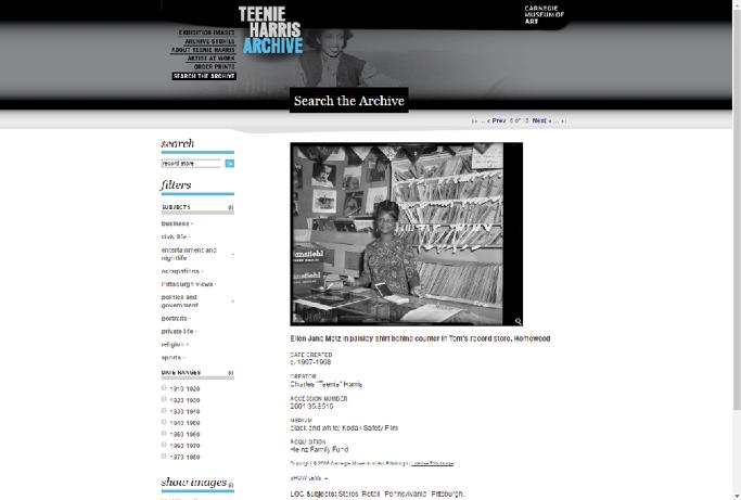 Figure 1. Teenie Harris Photograph screenshot