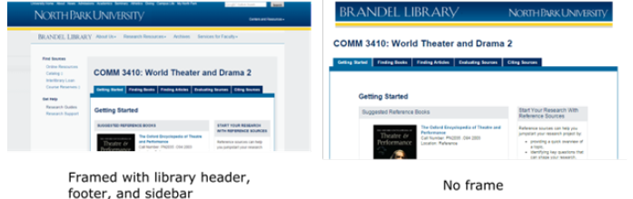 Graphic depiction of website with and without persistent content