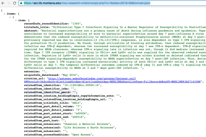 Figure 1. Screenshot Example API Output and URL from MSU Research Citations Application