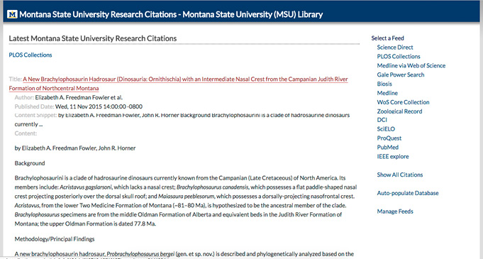 Figure 2. Web Page in MSU Research Citations Application Listing Most Recent MSU Research Using Multiple Vendor RSS Feeds