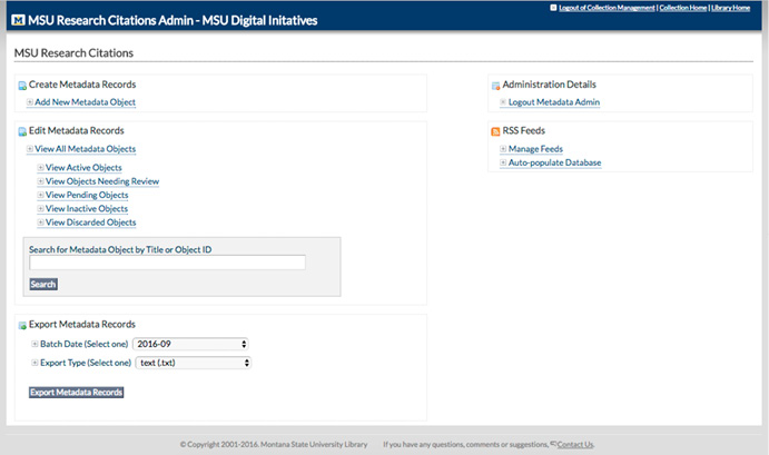 Figure 3. Administrative Review Interface within MSU Research Citations Application