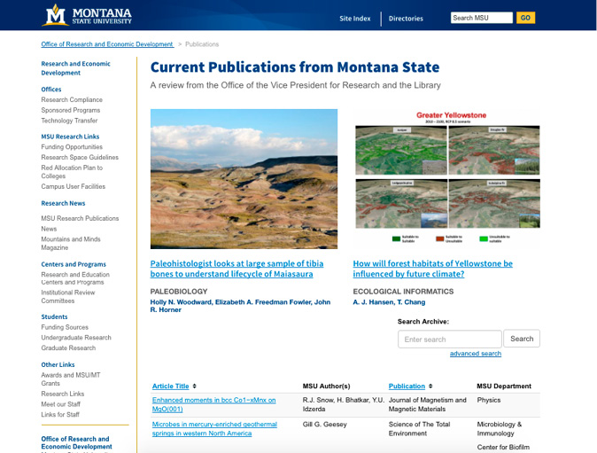 """Figure 4. Web Page Showing Library Citation Data (from Our API) Powering Office of Research and Economic Development """"Current Publications"""" Website"""