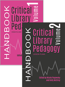 Book covers for the Two volume set of Critical Library Pedagogy