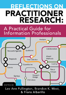 Book cover for Reflections on Practitioner Research by Lee Ann Fullington, Brandon K. West, and Frans Albrillo