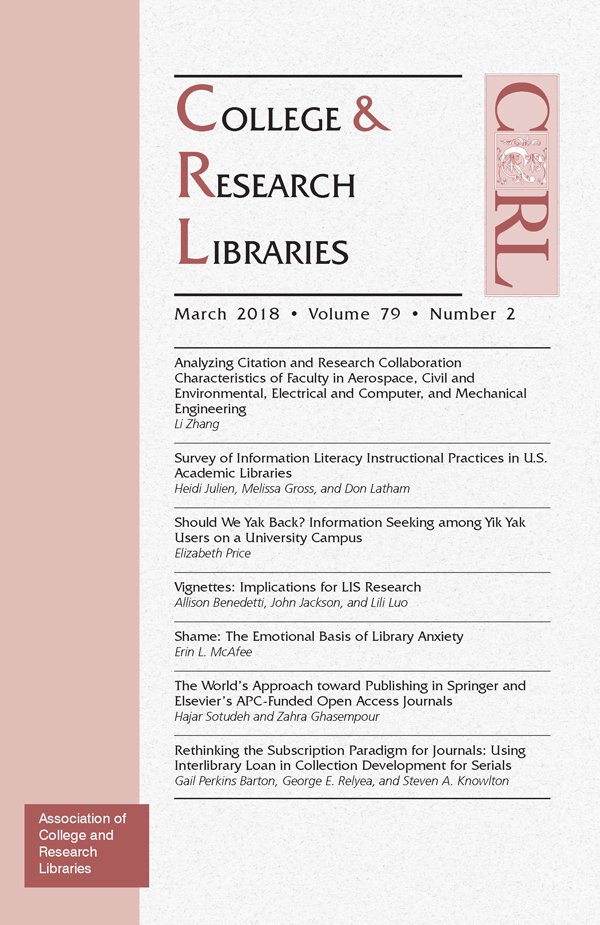 Cover: College & Research Libraries January 2018
