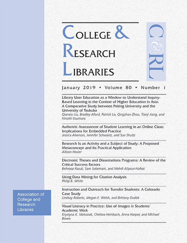 Cover: College & Research Libraries January 2019