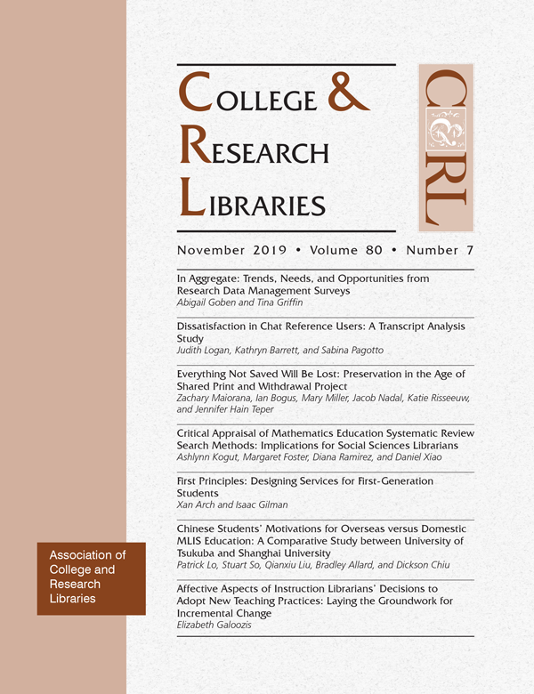 Cover: College & Research Libraries volume 80, number 7, November 2019