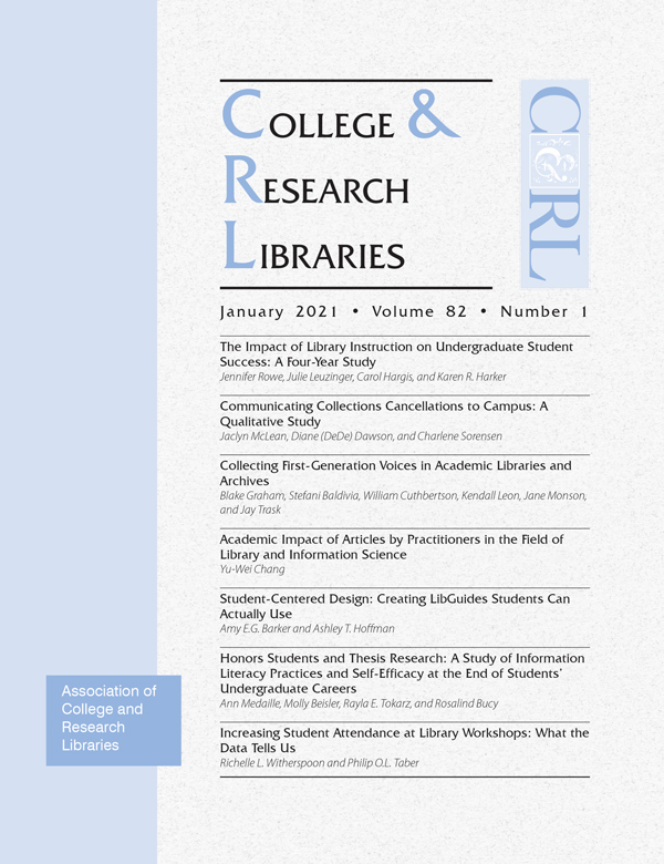 Cover: College & Research Libraries volume 82, number 1, January 2021