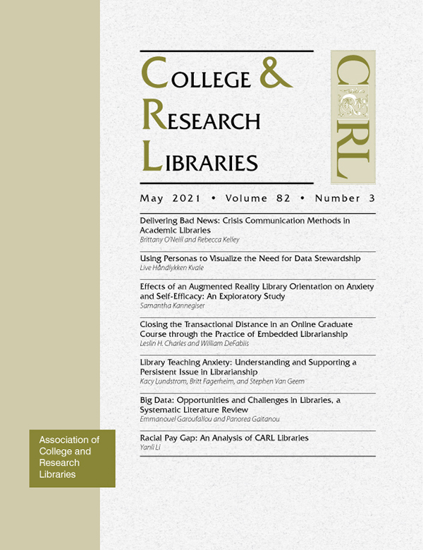 Cover: College & Research Libraries volume 82, number 3, May 2021